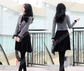 New korea Women OL Stylish Slim Dress Fashion High Neck Long Sleeve Black Purple