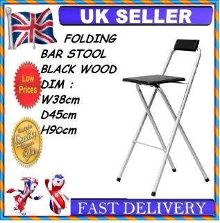 New Black Chrome Wood Folding Breakfast Bar Stool Kitchen Folding Chair Garden
