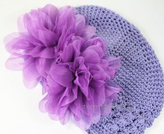 Flower Crochet Headband Cute Infant Baby Girl Beanie Hat Hair Accessories 0245D