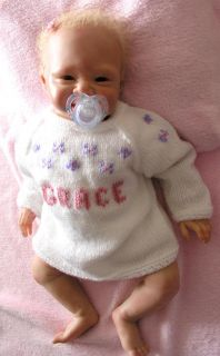Boutique Personalized Gift Any Name Hand Knitted Baby Girl Boy Sweater Cardigan