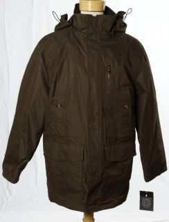 London Fog New Olive Green All Weather Heavy Parka Hooded Coat Jacket Medium