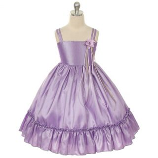 Kids Dream Little Girls 4 Lilac Taffeta Ruffle Flower Girl Dress