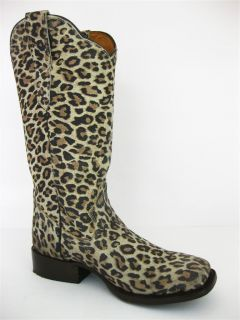 Women's Ladies Orix Tan Leather Leopard Spots Western Cowboy Boots Square Toe