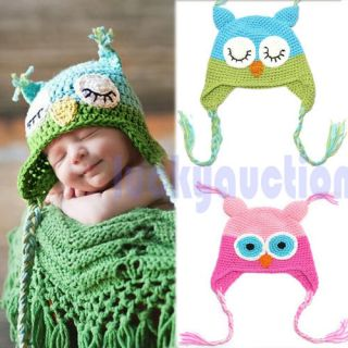 Cute Toddler Baby Girls Boys Owls Animal Crochet Knit Woolly Cap Ear Pigtail Hat