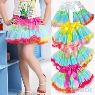 Girls Multi List Multi Color Pettiskirt Bow Knot Dance Tutu Dress Skirt 1 7 Year