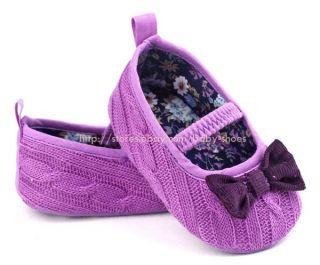 Toddler Baby Girl Bows Yarn Soft Sole Crib Shoes Newborn to 18 Months