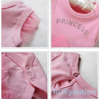 Girls Baby Pink Bodysuit Princess Dress Kids One Piece T Shirt Dress 0 36M