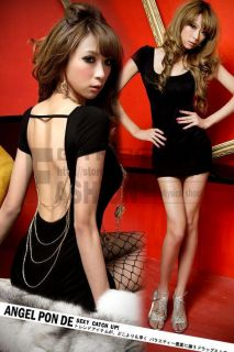 Black Backless w 5 Golden Chains Girls Womens Nightclub Clubwear Sexy Mini Dress