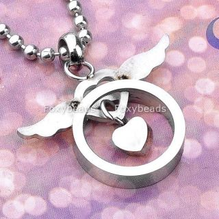 Women 316L Stainless Steel Love Heart Silvery Wings Pendant Necklace