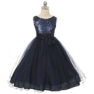 Kids Dream Little Girls 6 Navy Sequin Double Mesh Flower Girl Dress