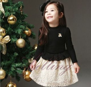 Fall Winter Kid Toddler Girl Above Knee Long Sleeve Formal Princess Dress Outfit