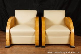 Pair Art Deco Club Chairs Blonde Walnut Seat 1920s Furniture