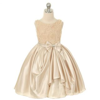 Kids Dream Girl 4 Champagne Rosette Satin Pick Up Flower Girl Dress