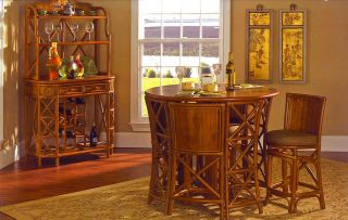 Compass Rattan Wicker 5 PC Pub Table Set