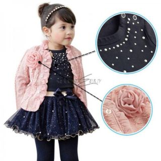 3pcs Girls Kids Baby Flower Jacket Coat Top T Shirt Tutu Skirt Dress Outfit