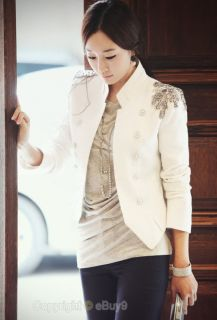 New fashion Women Slim Epaulet Suit Jacket white outwear S/M/L  Y331z6