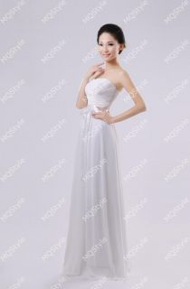 New Womens Chiffon Long Bridesmaid Wedding Evening Party Dress Satin Belt B2735C