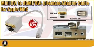 Mini DVI to HDMI Adapter for Apple Mac Laptop LCD TV Splitter Cable Gold Plated