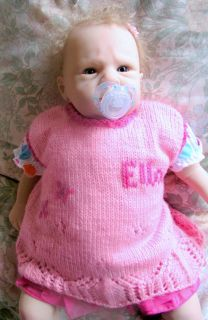Boutique Personalized Gift Any Name Hand Knitted Baby Girl Tunic Dress Jumper