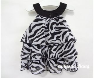 1pc Baby Kid Toddler Girl Chiffon Dress Outfit Clothes Pettiskirt Tutu Zebra