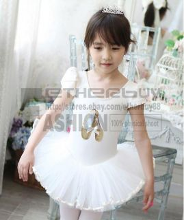 Girls White Party Leotard Ballet Tutu Skirt Dress Dance