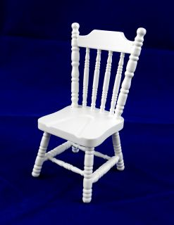 Dolls House Miniature Kitchen Furniture White Wood Dining Side Chair