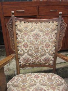 Antique Arts Crafts c1905 Carved Low Oak Armchair William Morris Fabric