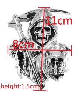 3D Custom Chrome Reaper Skull Emblem Badge Sticker Decal
