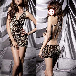 Womens Sexy Leopard Print Backless Teddy Clubwear Mini Skirt Dress G String Set