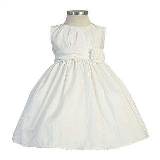 Sweet Kids Girls Size 8 White Pleated Solid Taffeta Easter Dress