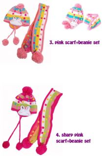 9M 4yr ★princess★ Toddler Girl Knitted Pom Hat with Ear Flap Beanie Scarf Set