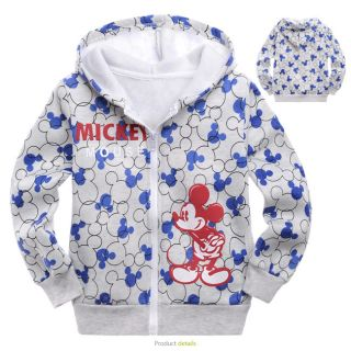 2 9 Years Baby Toddlers Kids Boys Mickey Long Sleeve Fleece Hooded Coat 8107B