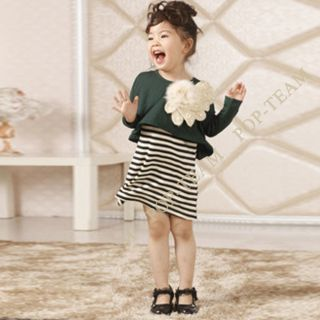 2013 Kids Baby Girl Korea 2pcs Big Flower Long Sleeve Dress Outfit Set 2 6Y TYE3