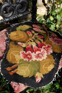 19thC Antique French Striking Tapestry Seat Chair Panel Remnant Trumpet Lillies