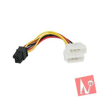 IDE Molex 4 Pin to PCI E 6 Pins Power Cable Adapter New