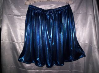 Adult Sissy Womens Mens TV CD Beautiful Sexy Blue Glitter Knit Mini Skirt