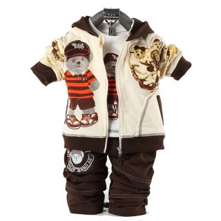 Cute Baby Boy Winter Fall Autumn Outfit Set Suit Coat Outerwear Clothes 3pcs Set