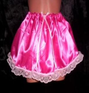 Custom Made Adult Sissy Womens Mens TV CD Cute Sexy Pink Satin Ultra Mini Skirt