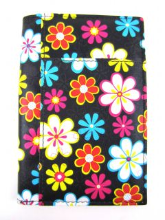 Black Floral Flower Passport Cover Travel Document Holder Organizer
