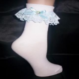 Custom Made Adult Sissy Womens Mens TV CD Cute Sexy Blue Satin Bow Anklets Socks