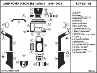 Land Rover Discovery II 99 04 Wood Dash Kit Trim w Door Panels LDR DS 2B 38 Pcs