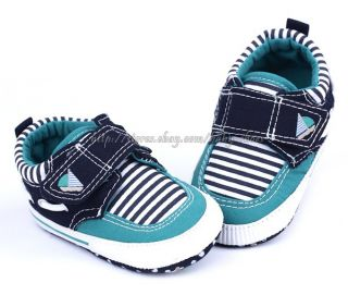 Toddler Baby Boy Strip Boat Shoes Crib Sneaker Size 0 6 6 12 12 18 Months