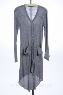 Free People Beach s 3 5 Ash Gray Cardigan Duster Sweater Long LS Shirt $78 New