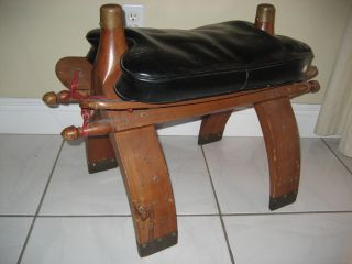 Pick Up Only Antique Wood Camel Saddle Seat Stool Vintage