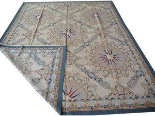 8'x10' Hand Woven Besserabian Geometric Wool French Aubusson Flat Weave Rug