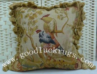 "18"" Square Antique Repro Wool French Aubusson Birds Parrots Pillow Cushion Cover"