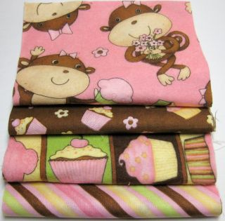 "Birthday Cupcake Rag Quilt Kit 84 6"" Squares Adorable Gift DIY Pink"