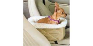 Car SUV Center Console Small Dog Bed Khaki Booster Seat