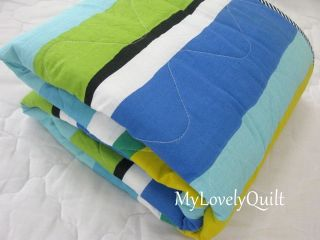 Blue Green Yellow Stripes Quilted Bedspread Baby Toddler Quilt Throw New