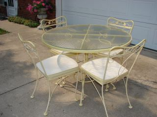 Vintage Patio Glass Top Table 4 Chairs Ornate Heavy Metal